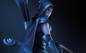 dota_2, ragazza, arciere, Bow, frecce, cacciatore