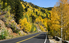 Rocky Mountain National Park, autumn, road, Mountains, landscape