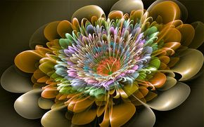 flor cyber, abstracción, 3d, arte