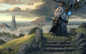 legend_of_grimrock_2, wizard, Tree, magic, sea