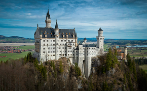Neuschwanstein Castle, Bavaria, Germany, Замок Нойшванштайн, Бавария, Германия, лес, замок, пейзаж