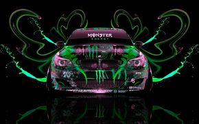 BMW, Five, M5, vue de face, noir, fond, aérographie, Monster Energy, PLASTIQUE