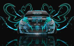 BMW, eM Five, M5, front view, black, background, aerography, Monster Energy, PLASTIC