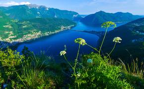 San Salvatore, Góry, rzeka, miasto, krajobraz
