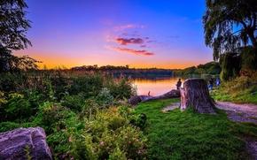 закат, озеро, берег, деревья, рыбаки, пейзаж