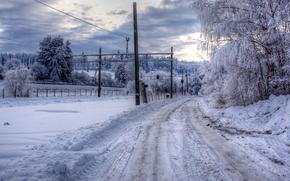 inverno, stradale, alberi, Pilastri, ferrovia, paesaggio