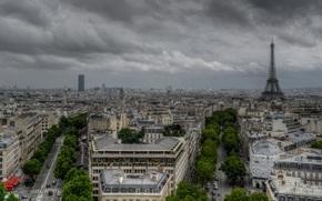 Paris, France, clouds over the city