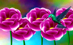 птица, цветы, 3d