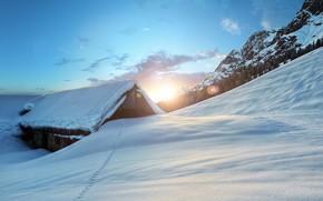 зима, закат, горы, домик, пейзаж