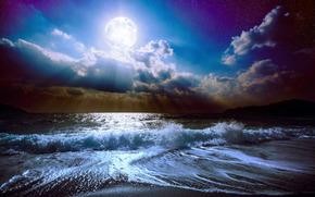 mar, noite, ondas, lua