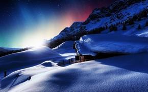 закат, домик, горы, зима, снег, пейзаж