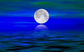 mar, ondas, luna