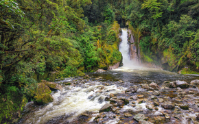 река, водопад, деревья, камни, скалы, природа