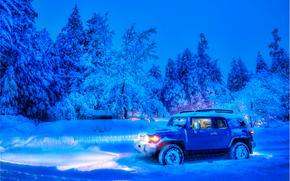 inverno, stradale, alberi, notte, auto, fari, natura