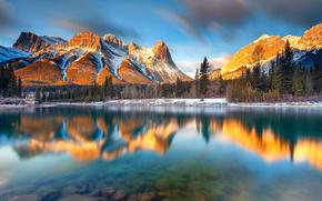 пейзаж, природа, горы, озеро, отражение, Альберта, Канада