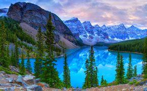 Lake Moraine, Banff National Park, Kanada, jezioro, drzew, Góry, krajobraz