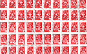 Art, stamp, Post Office, ussr, coat of arms, hammer and sickle, 1976god, 4 cents, TEXTURE, red