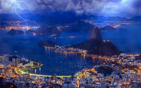 Бразилия, Рио-де-Жанейро, Rio de Janeiro, залив, Brazil, вечер, небо, облака, молния