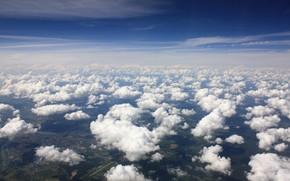 cielo, altezza, nuvole, blu