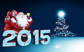 2015, 3D, Santa Claus, праздники, Christmas, gift