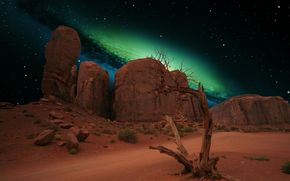 noche, desierto, galaxia
