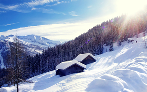 Austria, Alps, Austria, Alps, winter, snow, Mountains, forest, houses, landscape
