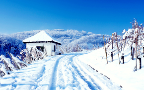 winter, road, Mountains, cabin, trees, landscape