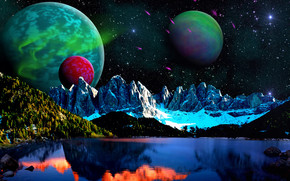jezioro, Góry, niebo, Planeta