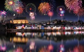 Saarburg, Germany, New Year, holiday, fireworks
