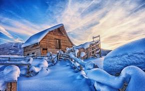 зима, горы, домик, забор, закат, снег, пейзаж