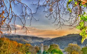 日没, 上からの眺め, 山脈, 木, 支店, 葉, 秋, 風景