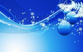 blu, Palle, Fiocchi di neve, Capodanno