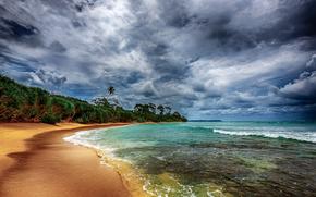 mar, costa, árboles, nubes, paisaje