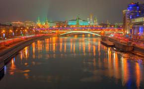 москва, кремль, ночь