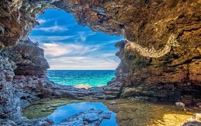 海, 岩石, 石窟