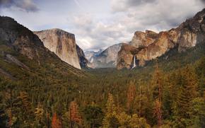 Yosemite, USA, Stato della California, Montagne, alberi, paesaggio, Yosemite National Park, ovest della Sierra Nevada
