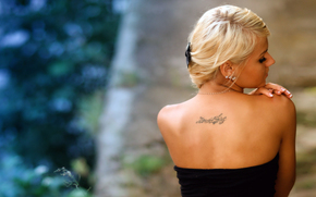 dziewczyny, skóra, blondynka
