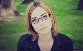 Mädchen, Brille, Gesicht