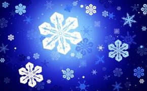 синий, снежинки, вектор