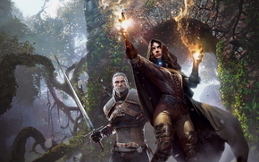 the_witcher_3_wild_hunt, fuego, hechicera, energía, Espada, chica
