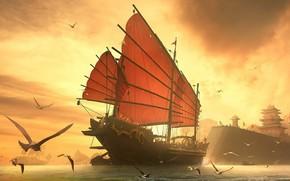 корабль, чайки, море