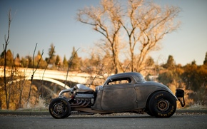 ford, Coupe, 1934, Twin Turbo, Big Block, V8, Hot Rod, Drag Car, Side view