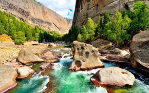 Mountains, Rocks, river, trees, landscape
