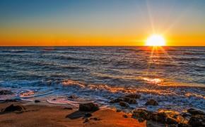 日没, 海, 波浪, 岸, 風景