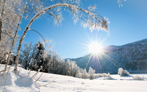 winter, Mountains, trees, cabin, snow, landscape