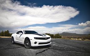 branco, Chevrolet, Camaro SS, Camaro, Montanhas, Nuvens