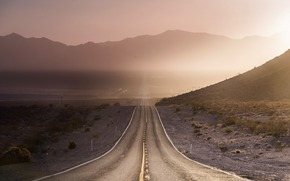 road, morning, Mountains, light, landscape