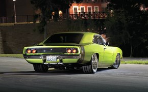 dodge, charger, 1968, green, night, Dodge