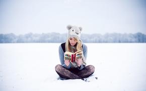 女孩, 冬天, 帽, 金发碧眼, 读取