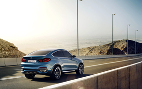 BMW, X4, concept, Car, blue, jeep, boomer, road, asphalt, Pillars, Day, BMW, machine